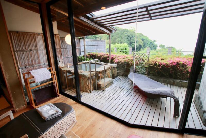 全室源泉かけ流し露天風呂付の宿「いさり火」103号室の露天風呂