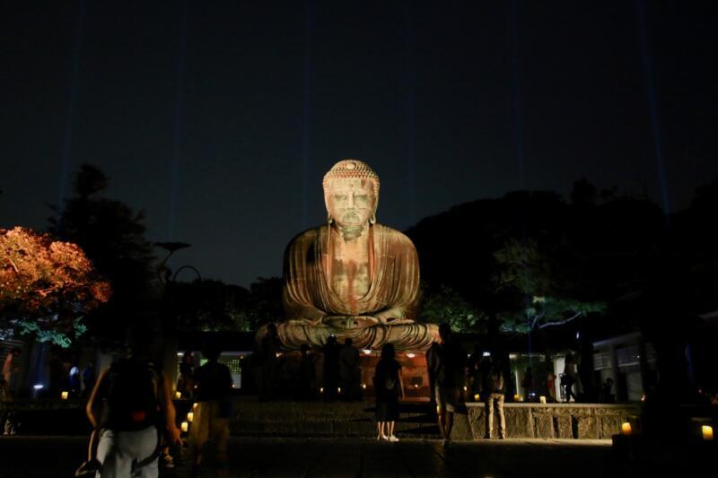 かまくら長谷の灯かり 鎌倉大仏殿高徳院 大仏様 ライトアップ