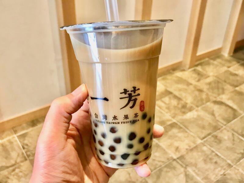 Okinawa brown sugar tapioca tea latte + tapioca topping