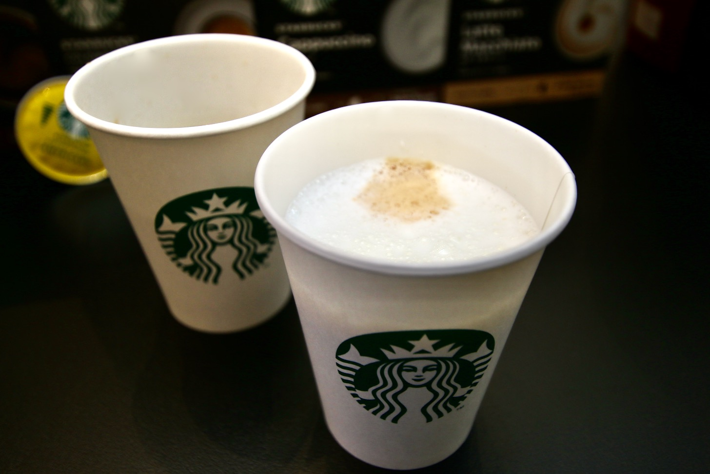 """Starbucks Caramel Macchiato"" is a drip-type ""Starbucks Origami Personal Drip House Blend"""