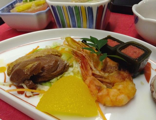 ユナイテッド航空ビジネスクラスのディナー,和食