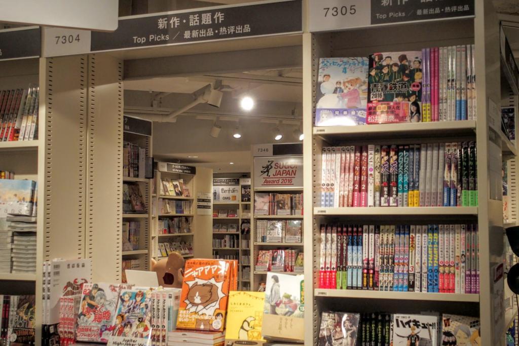コミックやライトノベル、アニメなど本棚が空いていて奥が見通せる