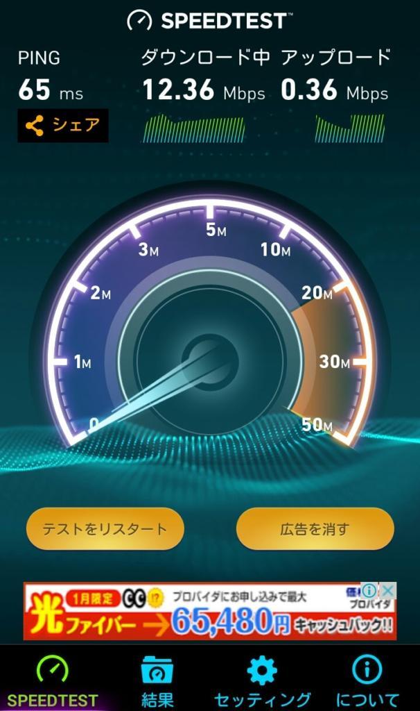 フリーテルの通信速度