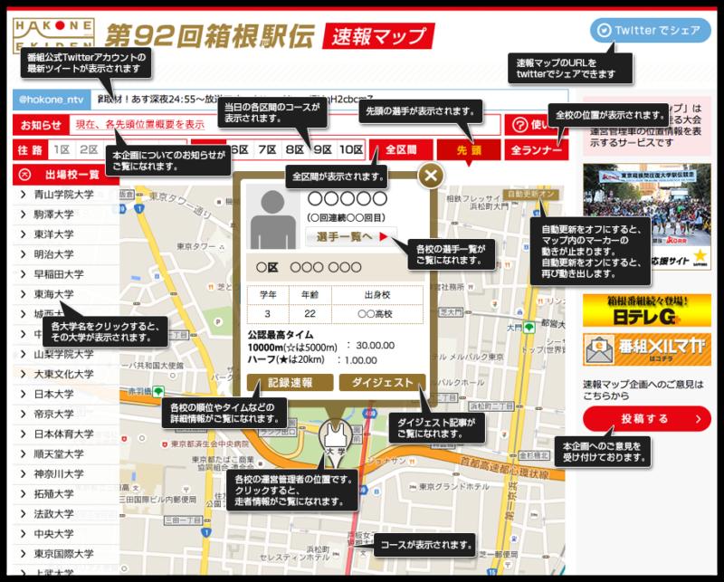 スマホやタブレットで先頭ランナーの位置が確認出来る「第92回箱根駅伝速報マップ」