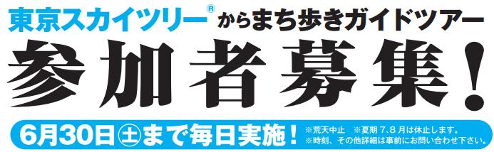 「東京スカイツリーから街歩きガイドツアー」6月末まで毎日開催